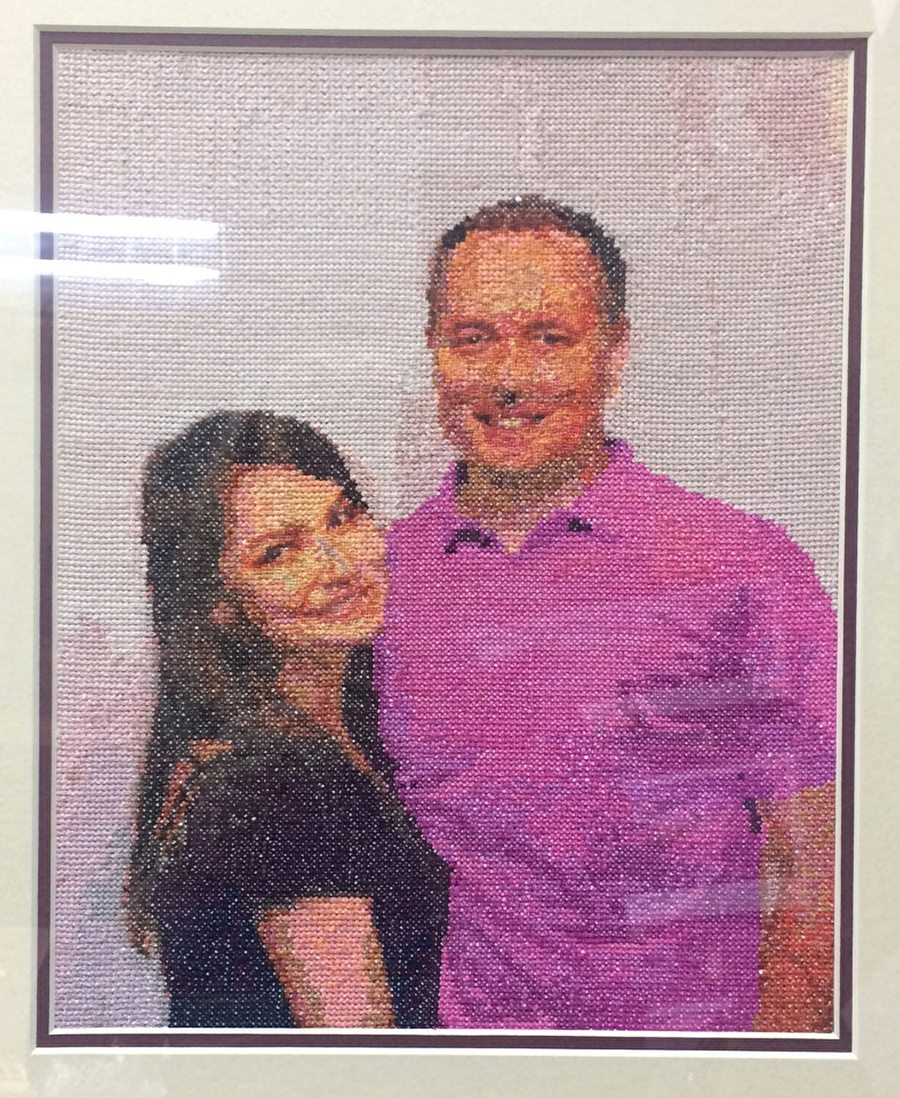 Complete Family couple cross-stitching design