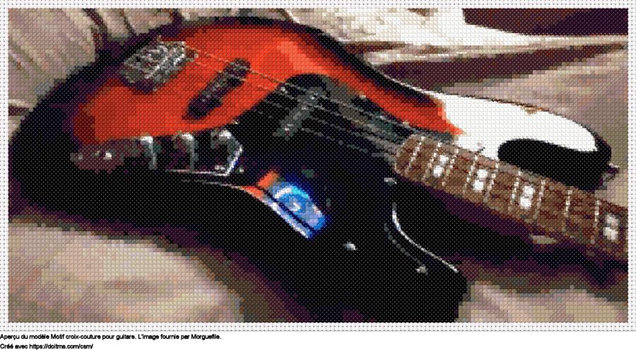 Motif de point de croix Guitare gratuit