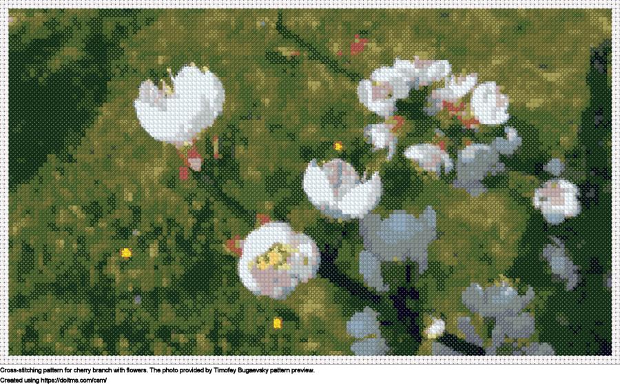 Free Cherry blossom cross-stitching design