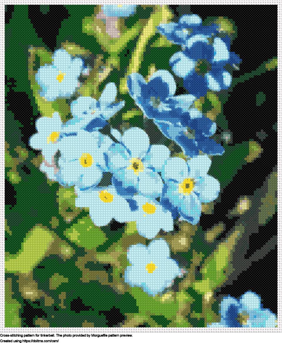 Free Tinkerbell cross-stitching design