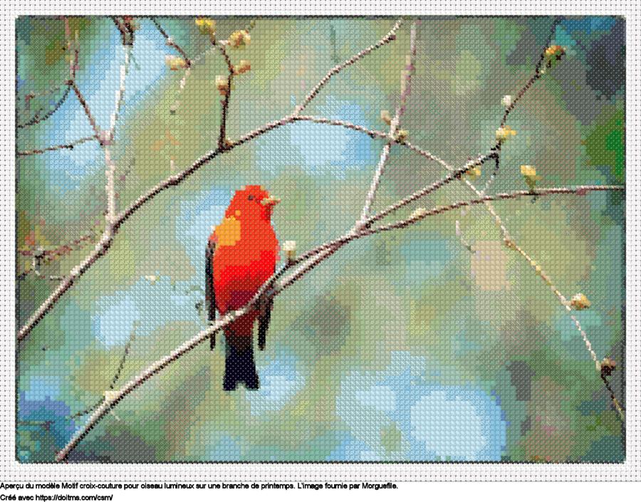 Motif de point de croix petit oiseau gratuit