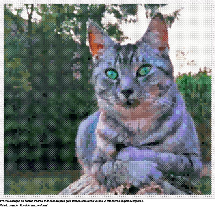 Desenhos Gato de ponto-cruz gratuitos