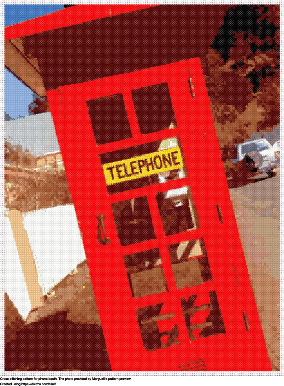 Free Phone booth cross-stitching design