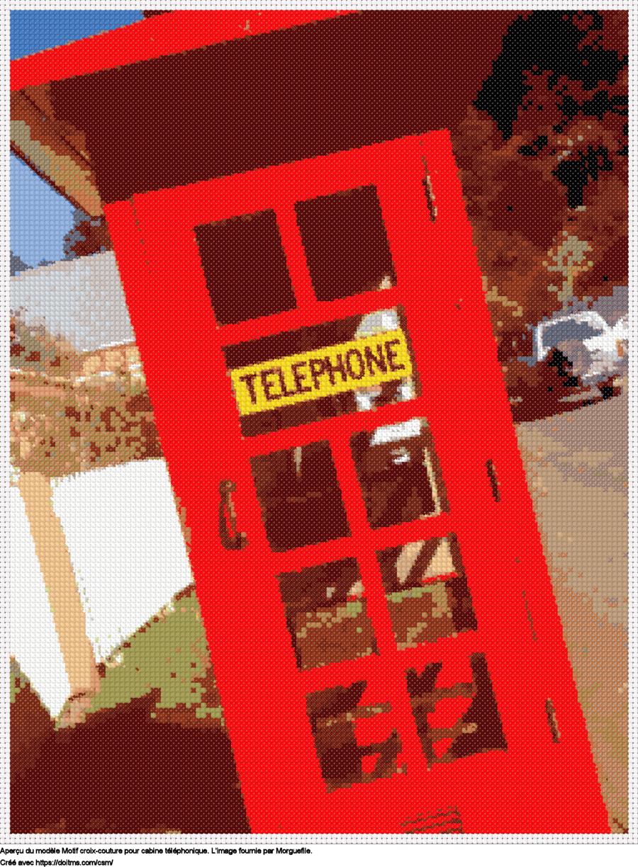 Motif de point de croix Cabine téléphonique gratuit