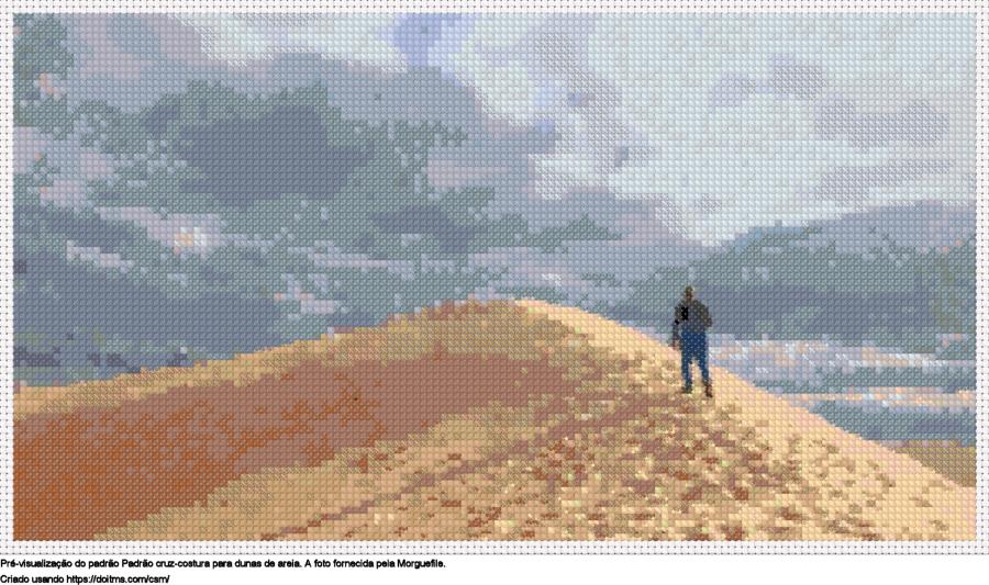 Desenhos Dunas de areia de ponto-cruz gratuitos