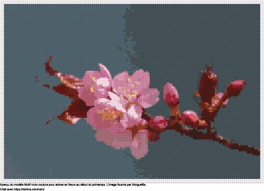 Motif de point de croix fleurs de cerisier gratuit