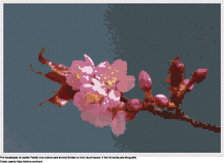 Desenhos flores de cerejeira de ponto-cruz gratuitos