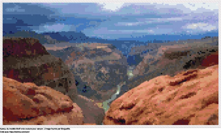 Motif de point de croix Canyon gratuit