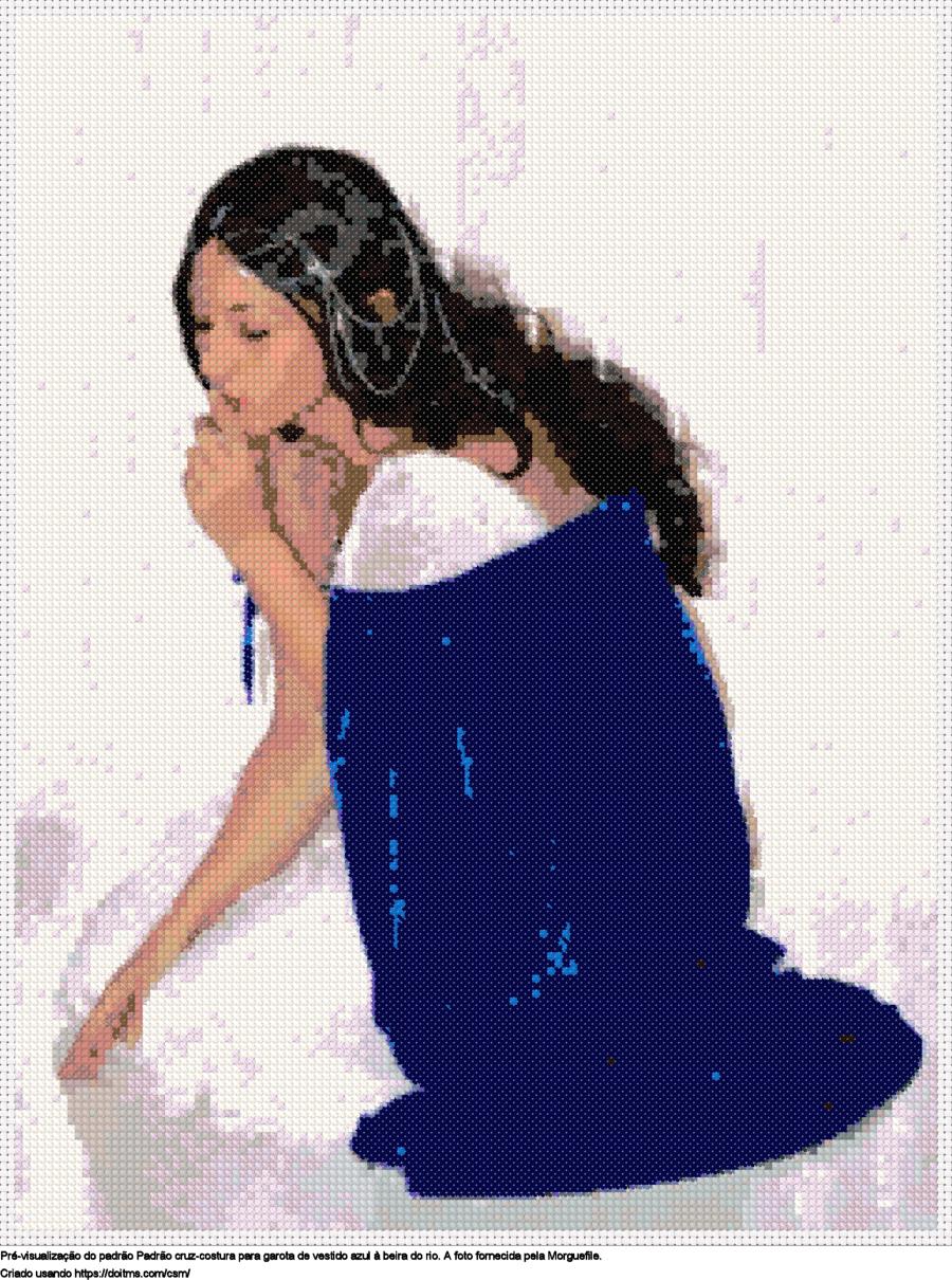 Desenhos Menina de ponto-cruz gratuitos