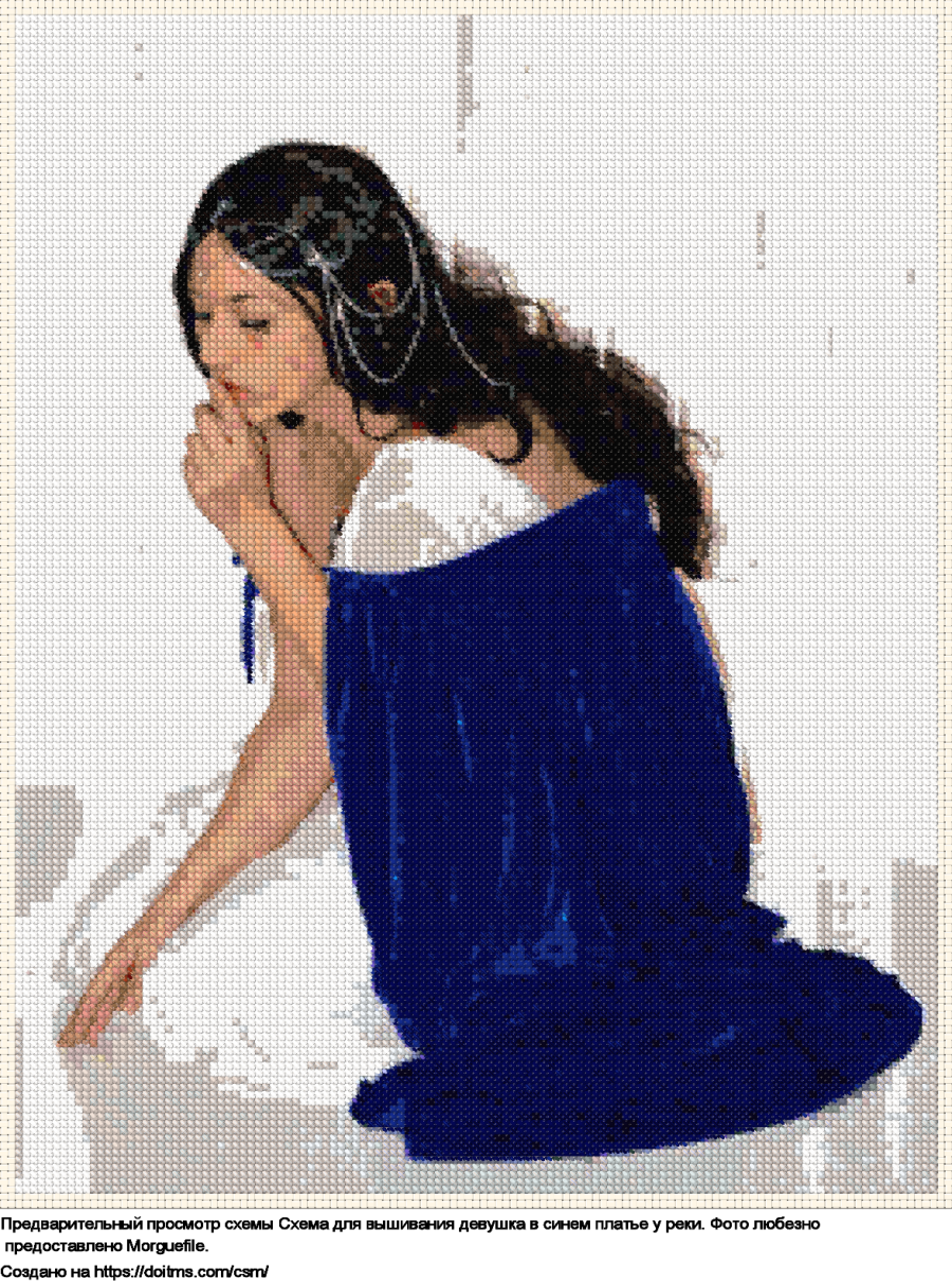 Бесплатная схема Девушка для вышивания крестиком