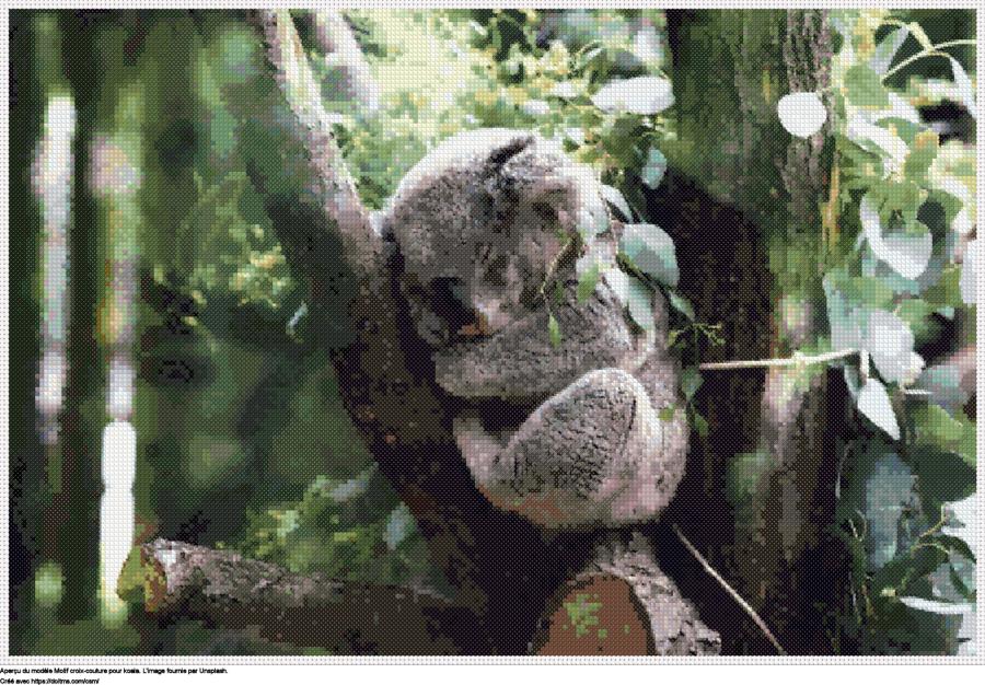 Motif de point de croix Koala gratuit