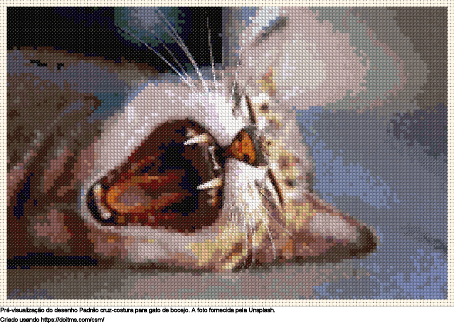 Desenhos gato de bocejo de ponto-cruz gratuitos