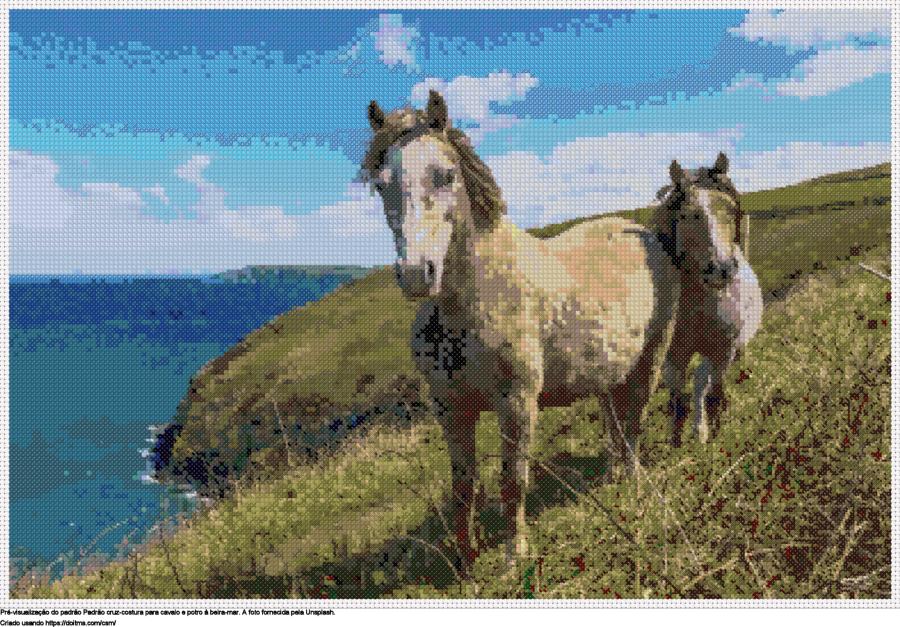 Desenhos Cavalos de ponto-cruz gratuitos