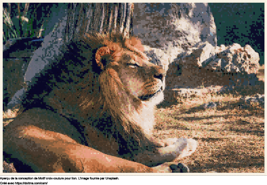 Motif de point de croix Lion gratuit