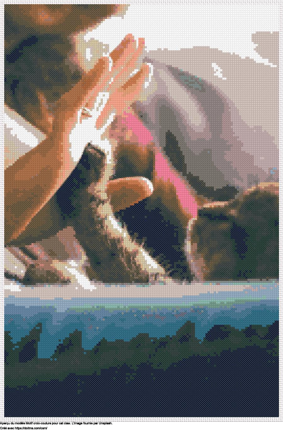 Motif de point de croix Cat claw gratuit