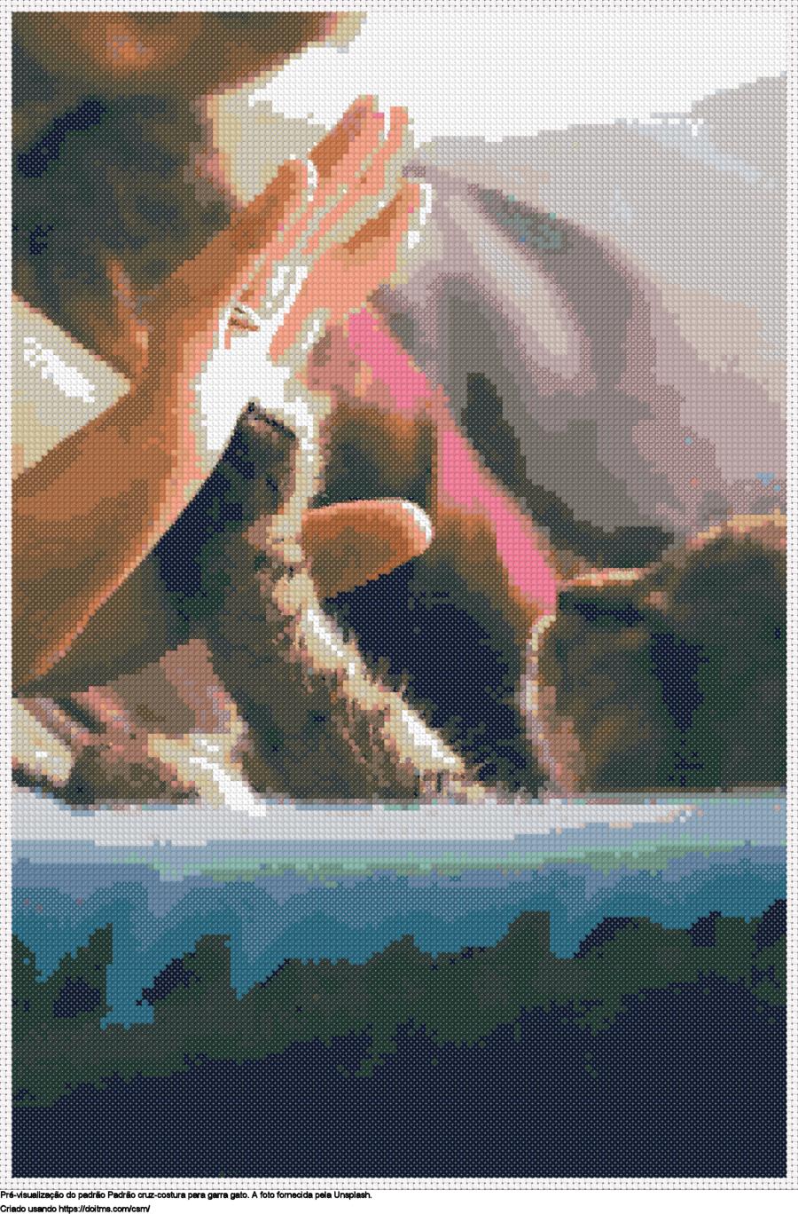 Desenhos garra gato de ponto-cruz gratuitos