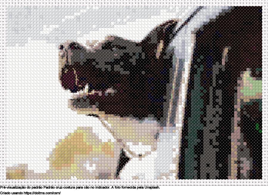 Desenhos Cão no indicador de ponto-cruz gratuitos