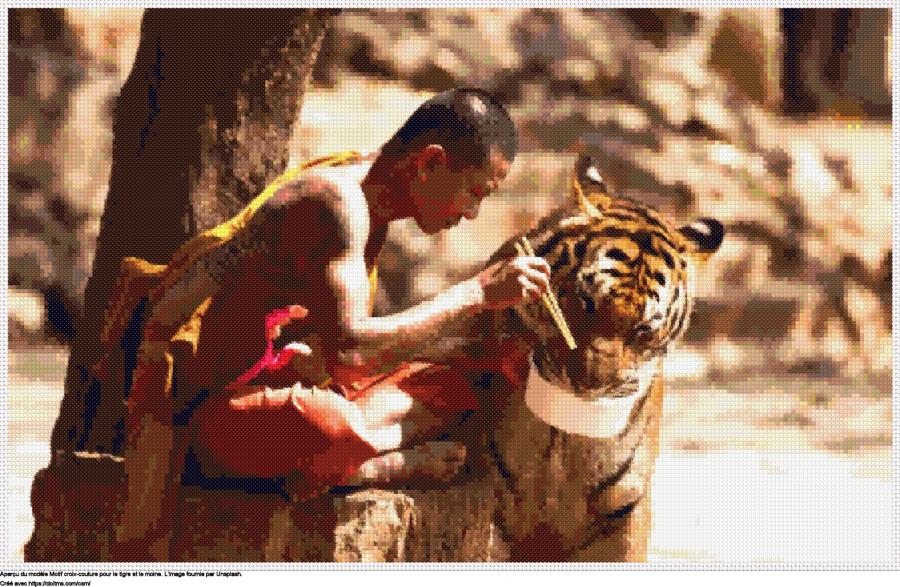 Motif de point de croix Le tigre et le moine gratuit