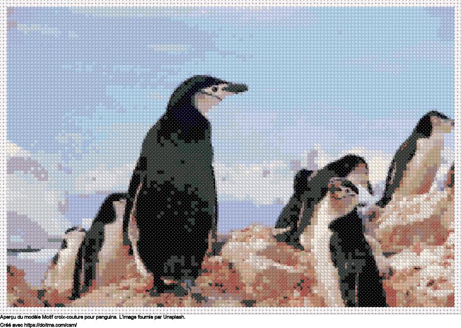 Motif de point de croix Penguins gratuit