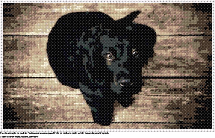 Desenhos Filhote de cachorro preto de ponto-cruz gratuitos