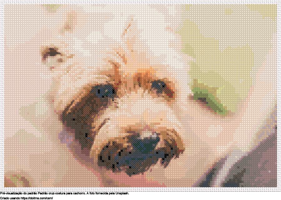 Desenhos Cachorro de ponto-cruz gratuitos