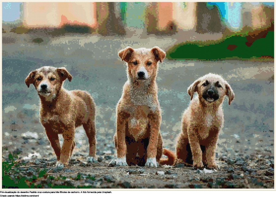 Desenhos três filhotes de cachorro de ponto-cruz gratuitos