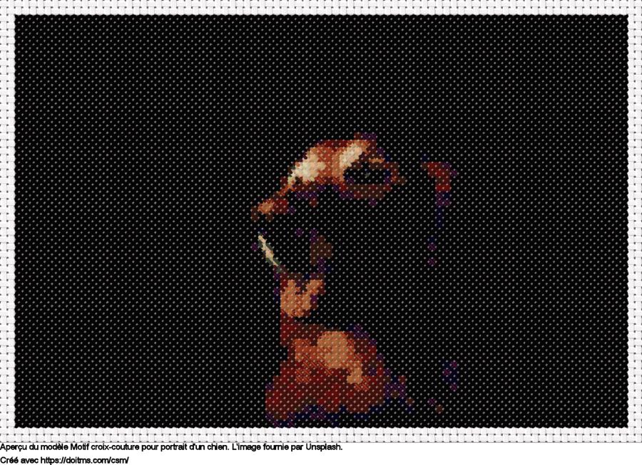 Motif de point de croix Portrait d'un chien gratuit