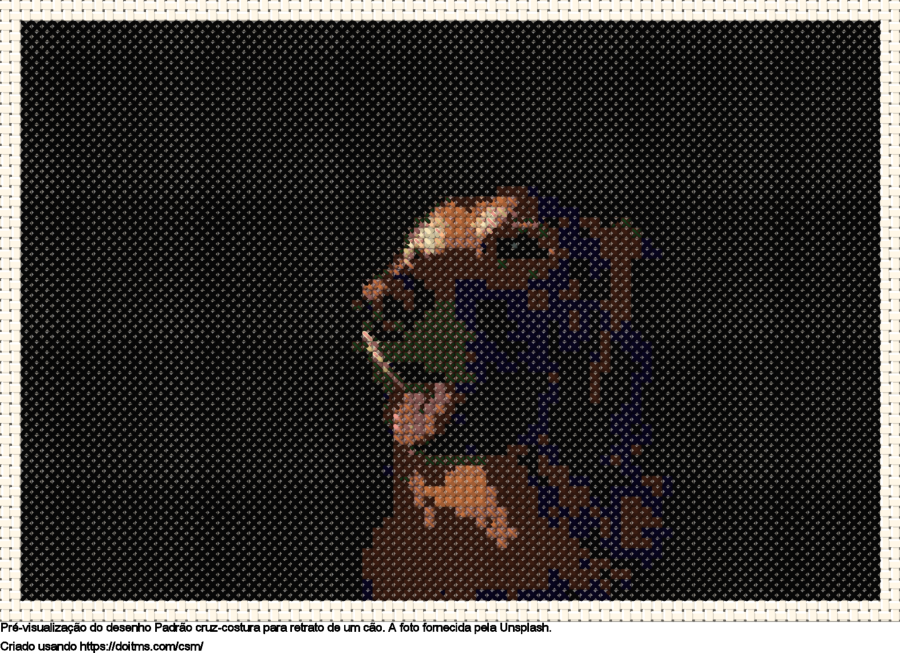 Desenhos Retrato de um cão de ponto-cruz gratuitos