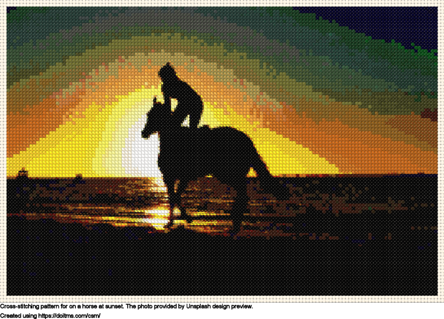 On a horse at sunset