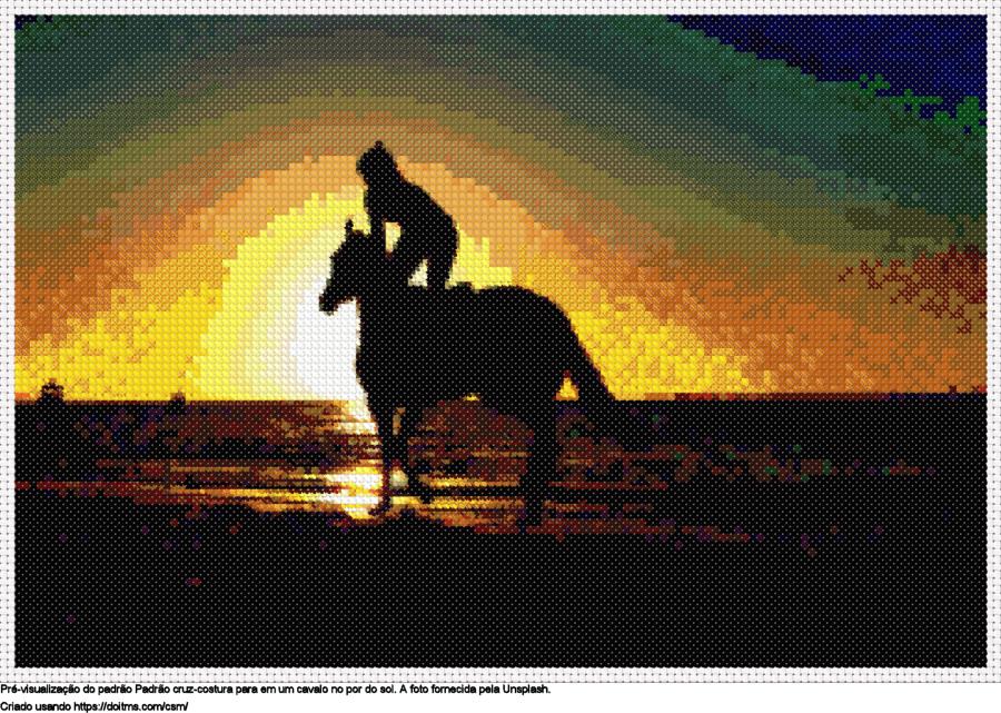 Em um cavalo no por do sol