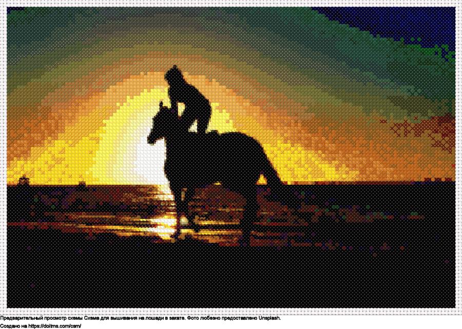 На лошади в закате
