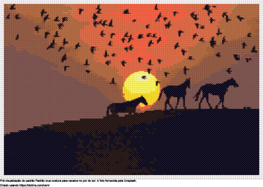 Desenhos Cavalos no por do sol de ponto-cruz gratuitos