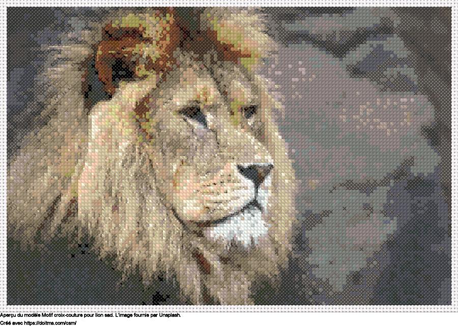 Motif de point de croix lion Sad gratuit