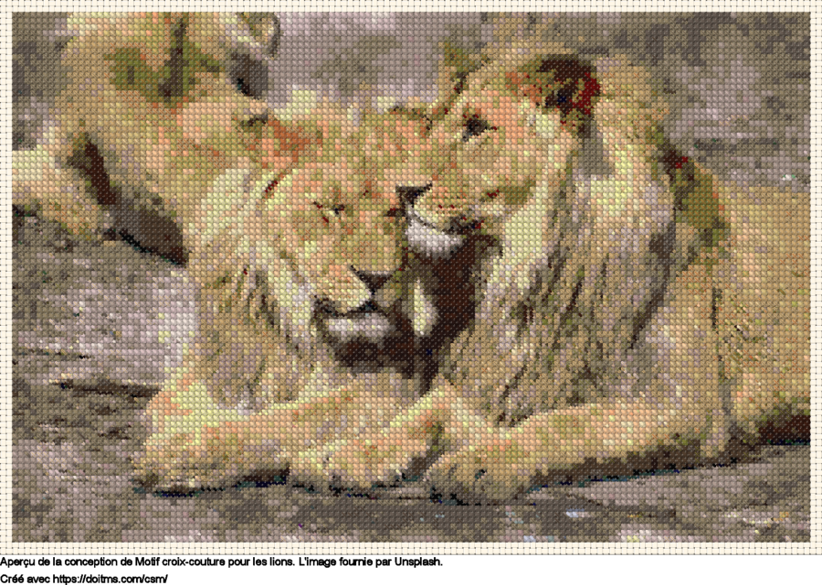 Motif de point de croix les Lions gratuit