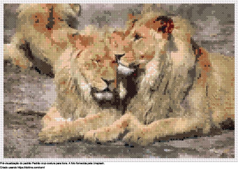 Desenhos Lions de ponto-cruz gratuitos