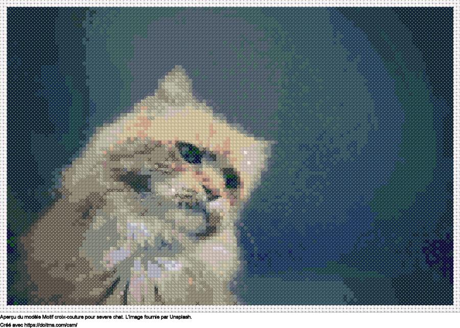 Motif de point de croix Severe chat gratuit
