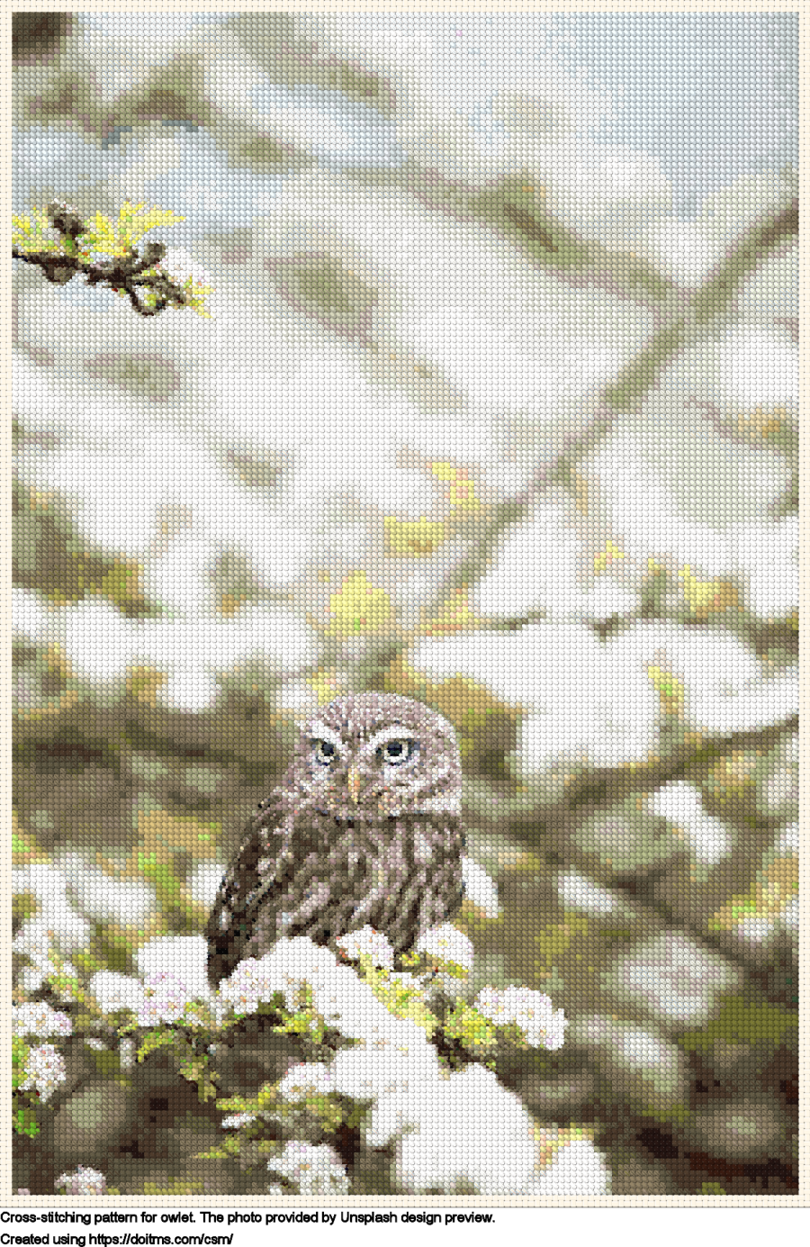 Free Owlet cross-stitching design