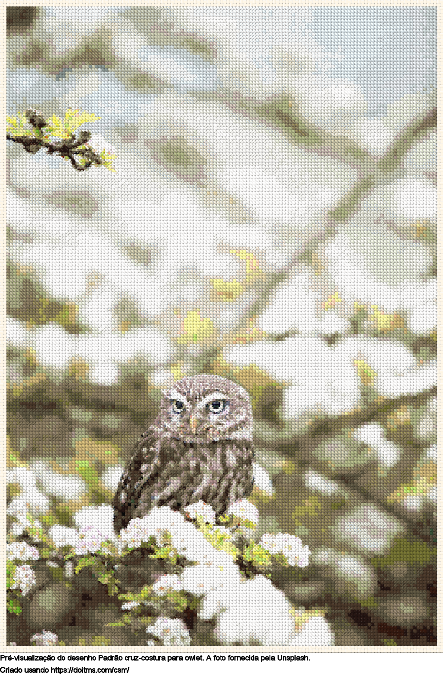 Desenhos owlet de ponto-cruz gratuitos