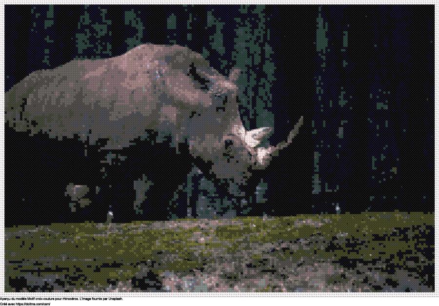 Motif de point de croix Rhinocéros gratuit