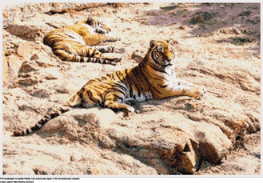 Desenhos tigres de ponto-cruz gratuitos