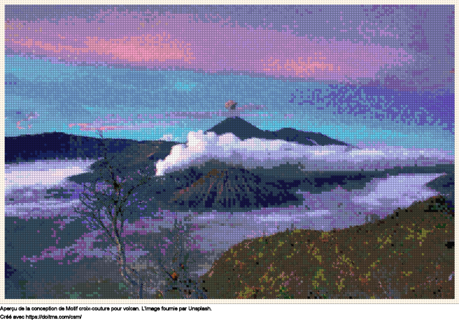 Motif de point de croix Volcan gratuit