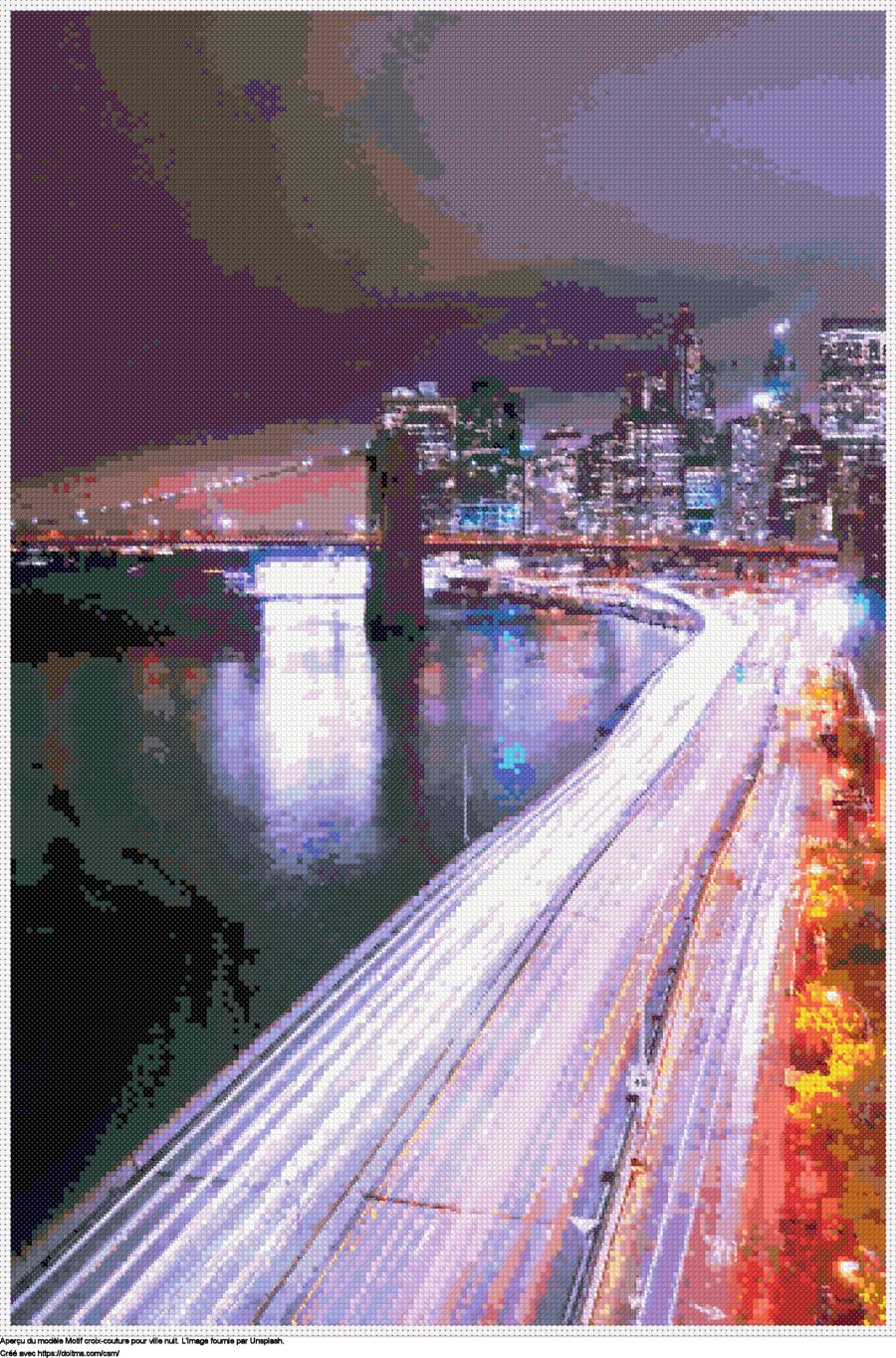 Motif de point de croix ville Nuit gratuit