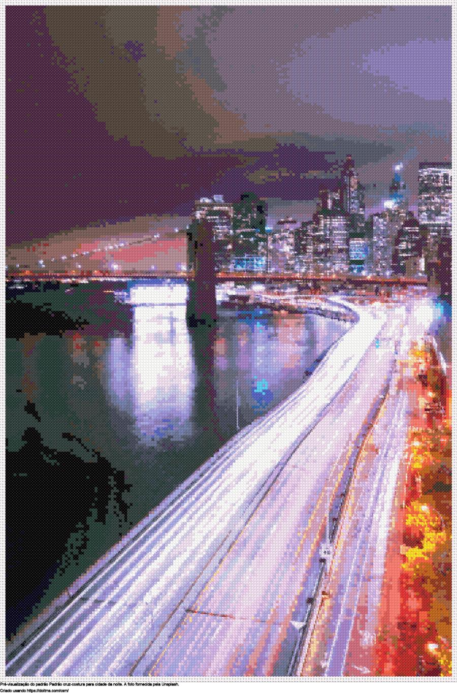 Desenhos cidade da noite de ponto-cruz gratuitos