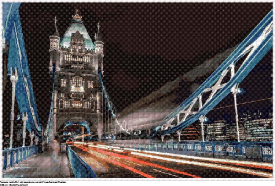 Motif de point de croix pont Nuit gratuit