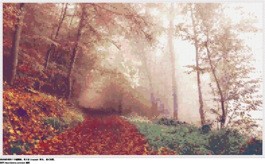 免費 森林裡的路 十字縫設計