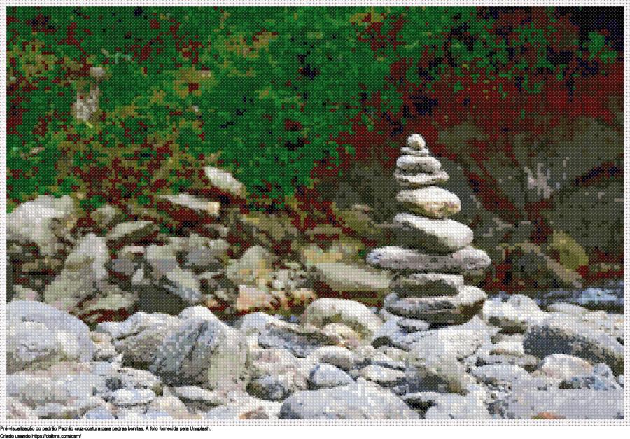 Desenhos pedras bonitas de ponto-cruz gratuitos