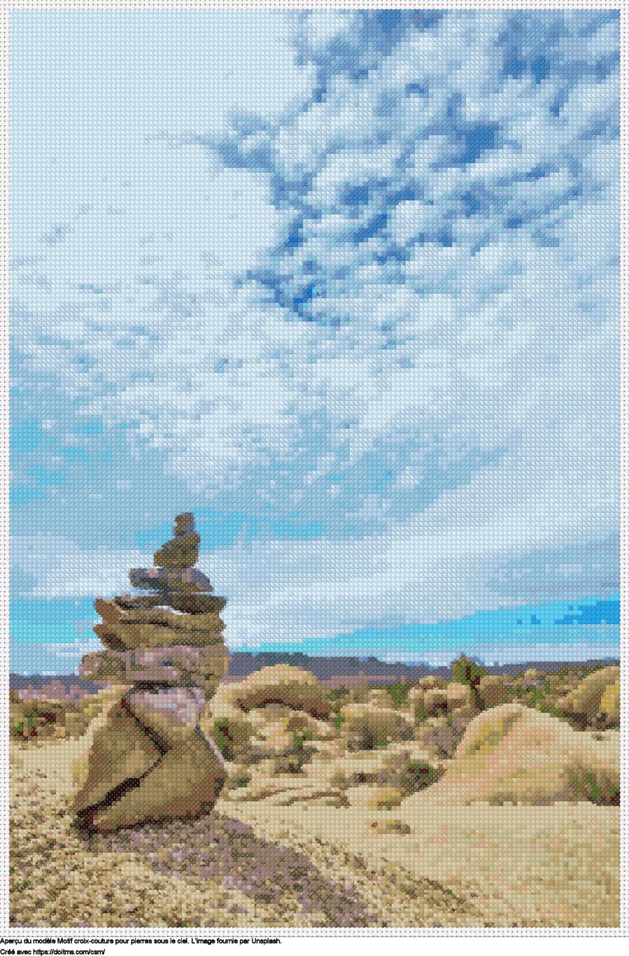 Motif de point de croix Pierres sous le ciel gratuit