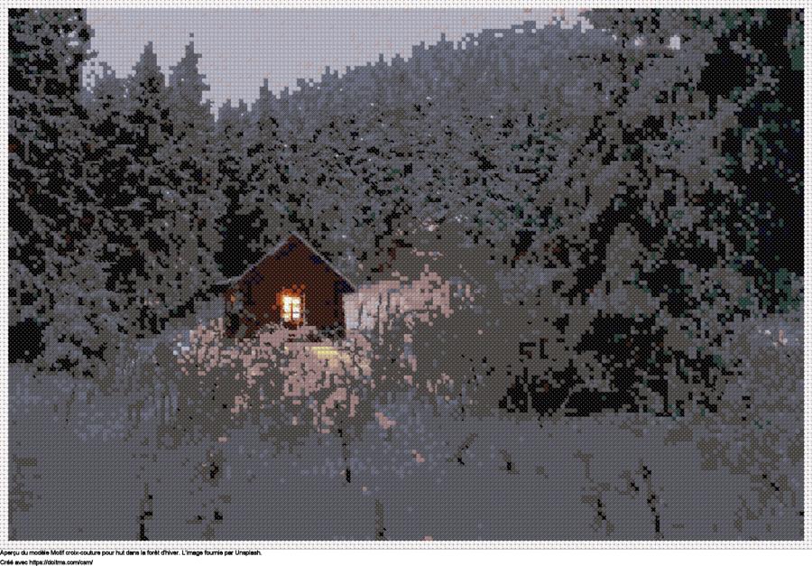 Motif de point de croix Hut dans la forêt d'hiver gratuit
