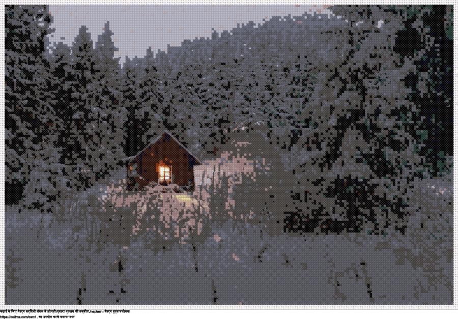 सर्दियों जंगल में झोपड़ी