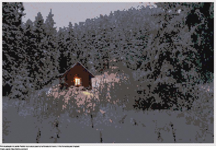 Desenhos Hut na floresta do inverno de ponto-cruz gratuitos
